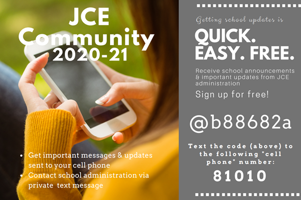 Join the JCE Community Remind for 2020-2021
