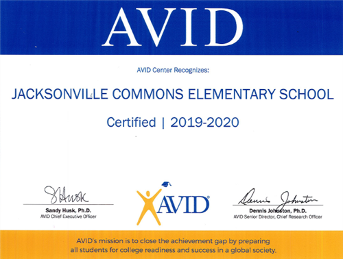 JCE AVID Certified for 2019-20
