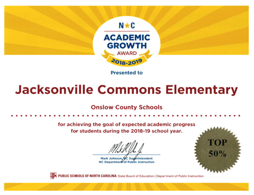 JCE Achieves Academic Growth Top 50% of NC