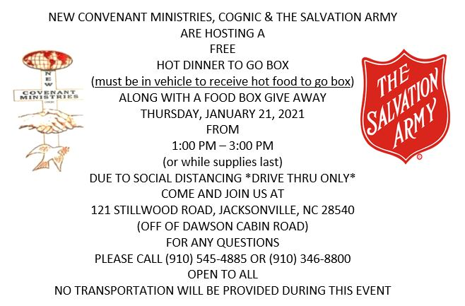 Hot Dinner to Go Box Event 1/21 1-3PM