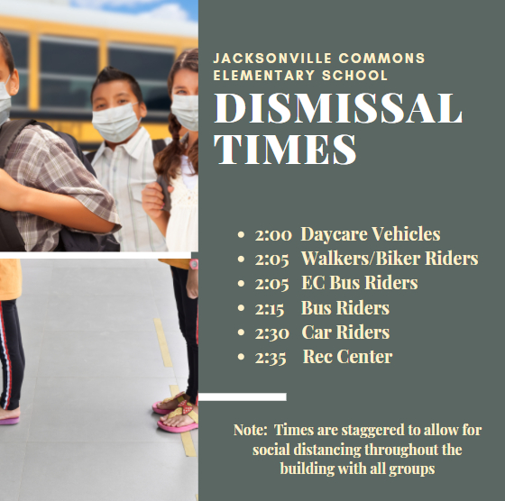 JCE Updated Dismissal Times