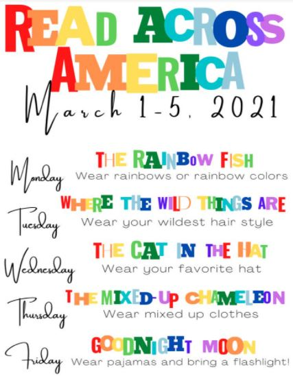 Read Across America Week - Spirit days