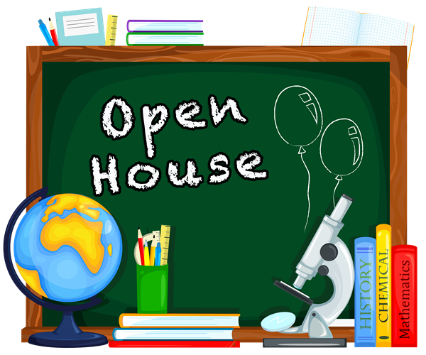 Open House with books, globe, microscope