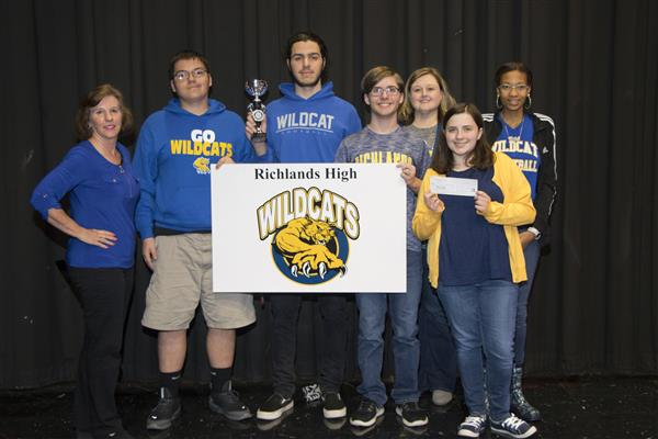 The team from Richlands High School poses with their prizes after winning the Dr. Kay B. Gresham Academic Challenge
