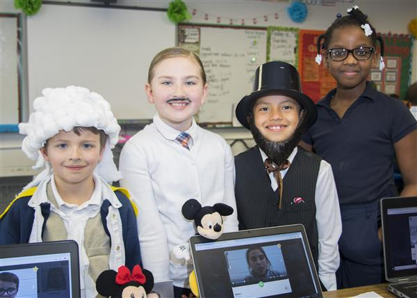 NWES students dressed as historical figures they learned about for their wax museum event