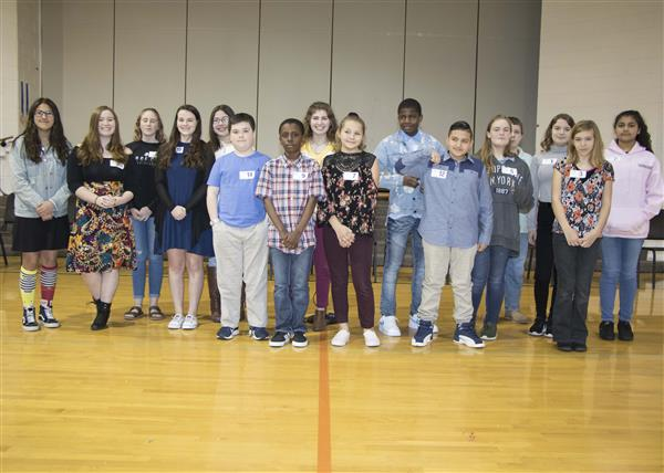 Sixteen students competed in the Middle School Spelling Bee