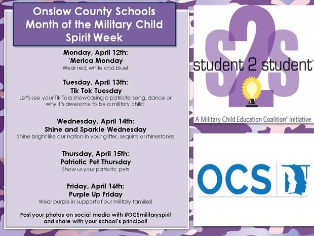 Month of the Military Child Spirit Week Information