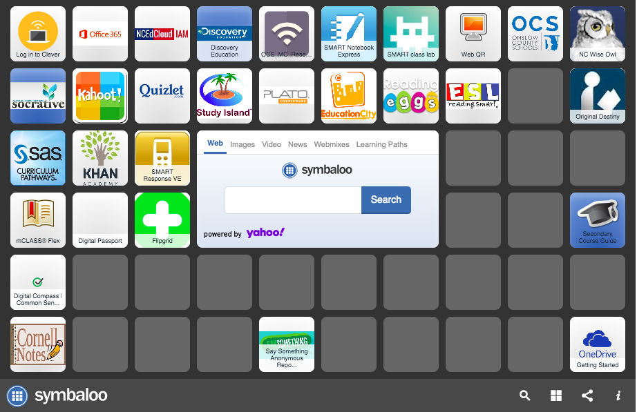 Onslow County Schools 1:1 Symbaloo for accessing Clever