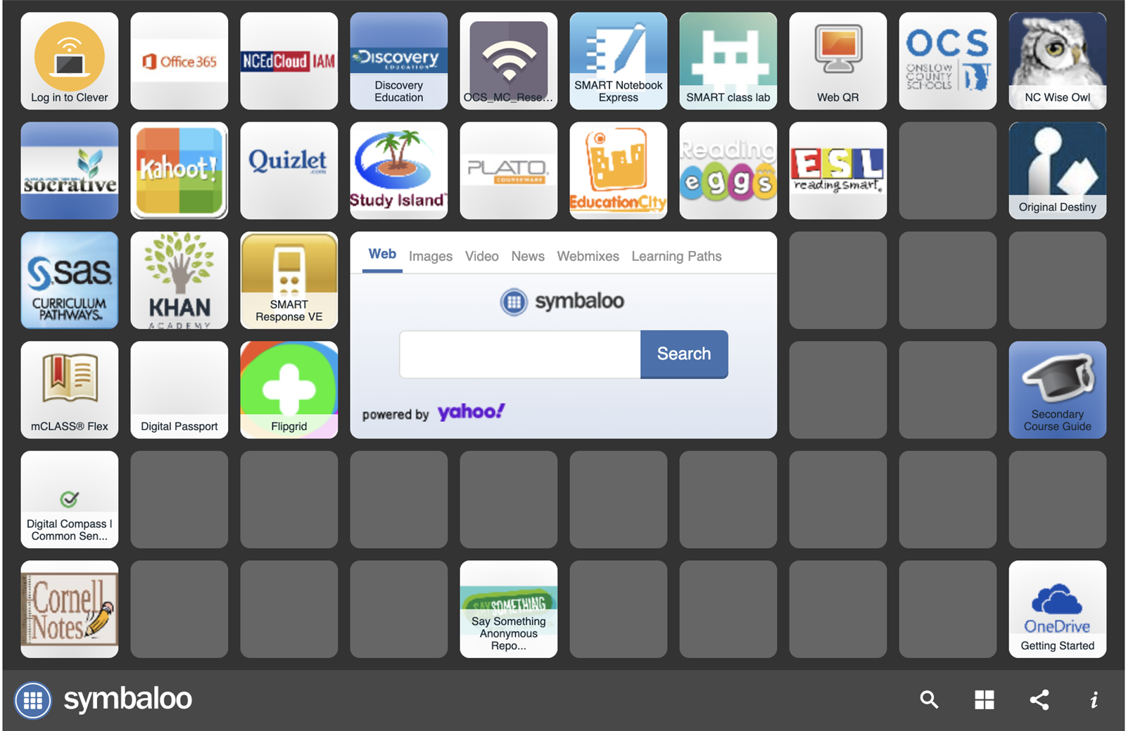 Click this link to access OCS student symbaloo page which will give you access to Clever, Powerschool, and other digital platforms utilized within the classroom.